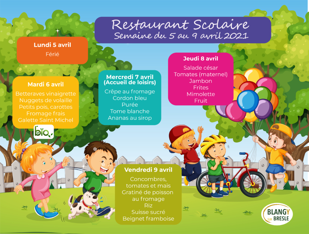 Menus restaurant scolaire du 5 au 9 Avril2021
