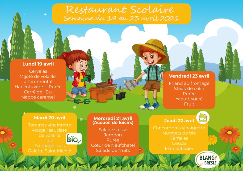 Menu restaurant scolaire du 19 au 23 Avril 2021