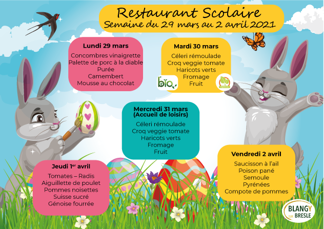 Menu restaurant scolaire du 29 au 2 avril 2021